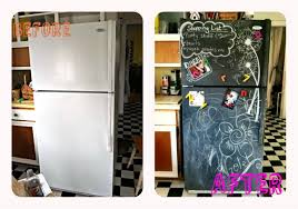 before and after refrigerator makeover rustoleum chalkboard paint how to diy