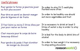 healthy living gcse revision french health healthy living healthy living