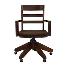 wooden swivel office chair. Pottery Barn Wooden Swivel Desk Chair Brown Office