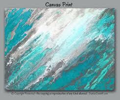 gray teal wall art canvas abstract
