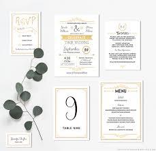 Wedding Invitation Set Templates Gold Diy Wedding Invitation Set Mountainmodernlife Com