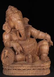 sold relaxing wood ganesh statue 25