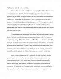 the negitive effects of day care on children essays similar essays