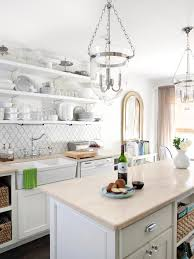 inspiring white kitchens with granite countertops and chandeliers