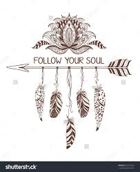 Hand Drawn Boho Style Design With Lotus Flower Arrow And Feathers