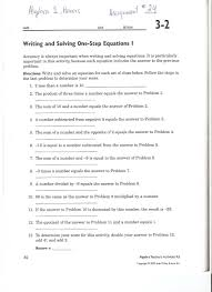 writing and solving one step equations 3 2