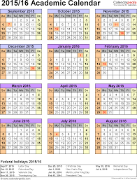 School Calendar 2015 2019 Template Academic Calendars 2015 2016 Free Printable Word Templates