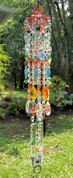 Sunny Days Antique Crystal Wind Chime, Fire Orange and Turquoise Crystal Wind  Chime, Boho