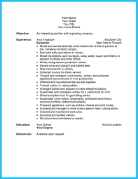 Bartender Job Description Template Resume Skills Image Examples