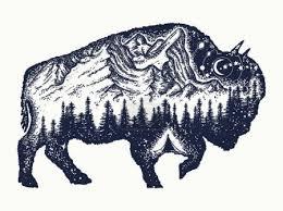 Vektorová Grafika Bison Tetování Umění Buffalo Bull Cestování