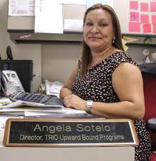 pcc upward bound program receives grant to award scholarships to angela sotello the director of the trio upward bound programs sits at her desk as
