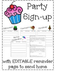 Party Sign Up Sheet Template Classroom Party Sign Up Sheet Worksheets Teaching
