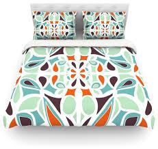 miranda mol orange purple stained glass duvet cover midcentury duvet covers
