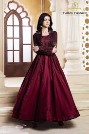Designer Outfits Maroon Pure Silk Designer Outfit With Trendy Style Indian
