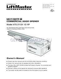 Light Duty Commercial Garage Door Opener Chamberlain Garage Door Opener Ats 2113x Users Manual