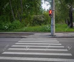 Pedestrian Light Crossing Pedestrian Crossing Zebra With Traffic Lights Red Light