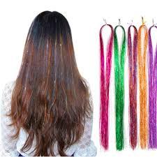 Amazon Alileader髪飾り輝くキラキラ ヘアエクステ 髪留め式 編み込み