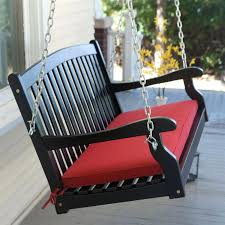Black Wood 4 Ft Porch Swing With Sienna Red Cushion And Hardware