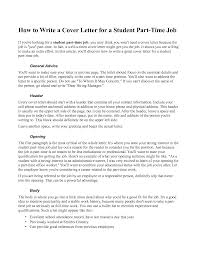 Cover Letter Sample Part Time Job Cover Letter Examples For Weekend