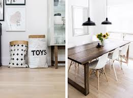 Scandinavian-inspired dining room - paper bag toy storage, Mrbylnga table,  Eames chairs