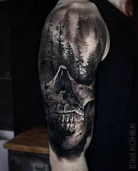 Realistic Skull Forest Best Tattoo Design Ideas