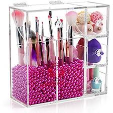 Clear Acrylic Makeup Brush Holder with Lid,Large Makeup Brush Storage with  2 brush holders
