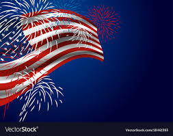 Usa Flag With Fireworks At Night