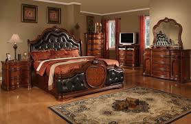 brown leather bedroom furniture. Cherry Bedroom Furniture | Leather Headboard Wood Bed Marble Top 10773 - Furniture, Sets Brown B