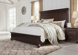 brynhurst dark brown king panel bed