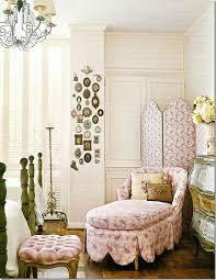 kitty otoole elegant whimsical bedroom: kay otoole paisley slipcovered chaise with scalloped detail screen antique commode