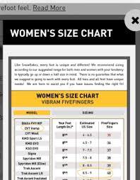 Vibram Five Fingers Womens Size Chart Vibram Fivefingers Sizing Chart Vibram Five Finger Shoes