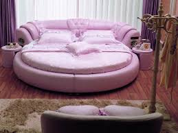 Bedroom Purple Leather Distressed Bed With Cool Bed Sheets Combined
