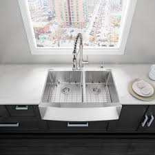 Farmhouse Apron Kitchen Sinks Vigo Alma 36 Inch Farmhouse Apron 60 40 Double Bowl 16 Gauge