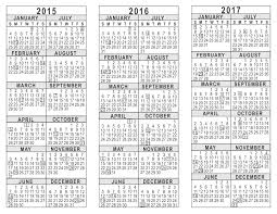 yearly calendar 2017 template 2015 2016 2017 3 year calendar