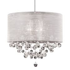 white fabric shade crystal modern drum chandelier designs e