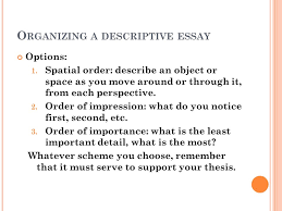 minute on page in the brief bedford reader look at the  organizing a descriptive essay