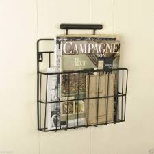 Metal wall mount magazine rack