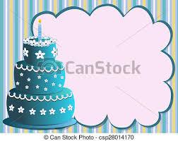 Blue Birthday Cake Happy Birthday Cake With Flowers Illustration