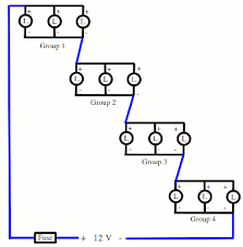 upgrading an led camping light to 12 volts stephen s stuff series parallel led circuit diagram for 12 v four groups