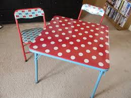 spray paint and recover card table and chairs w/ laminated cotton ...