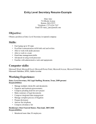 Example Secretary Resume Resume Template