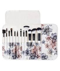 cosmix s makeup brush set 12 piece white flower leather pouch in india cosmix s makeup brush set 12 piece white flower leather