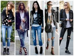 leather jacket torn jeans street style