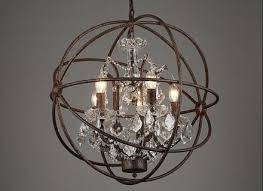 foucault s orb crystal chandelier rustic iron replica throughout