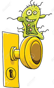 a happy cartoon germ waits on a door to infect someone stock photo