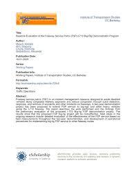Pdf Baseline Evaluation Of The Freeway Service Patrol Fsp I 710