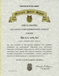 United States Army Military Police School Military Police School Advanced Nco Course Certificate