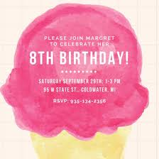 8th Birthday Party Invitations Pink Watercolor Ice Cream Kids Party Invitation Templates By Canva