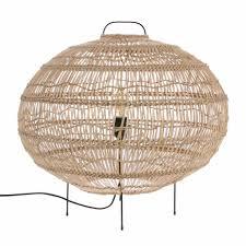 Hk Living Vloerlamp Ovaal Handgevlochten Beige Riet 60x60x56cm