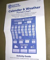 Calendar Pocket Chart Set Learning Resources Durable Nylon Calendar Weather Pocket Chart Ler2418 Complete